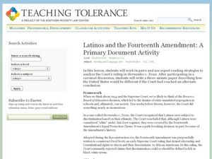 Latinos and the Fourteenth Amendment:  A Primary Source Document Activity Lesson Plan
