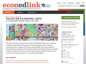 Focus on Economic Data: U.S. Real GDP Growth, March 26, 2010 Lesson Plan