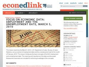 Focus on Economic Data: Employment and the Unemployment Rate, March 5, 2010 Lesson Plan