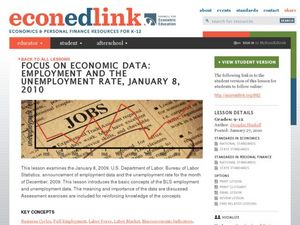 Focus on Economic Data: Employment and the Unemployment Rate Lesson Plan