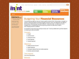 Budgeting Your Financial Resources Lesson Plan