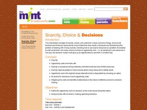 Scarcity, Choice and Decisions Lesson Plan