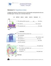 Vocabulary Worksheet (Prepositions of Place) Worksheet