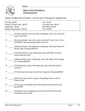 Menu Word Problems Worksheet #3 Worksheet