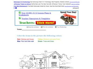 Color the House Worksheet