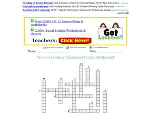 Women's History Crossword Worksheet