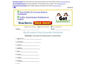 World Leaders Word Scramble Worksheet Worksheet