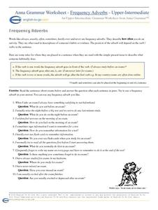 Frequency Adverbs Worksheet