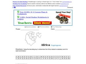 Africa Cryptogram Worksheet