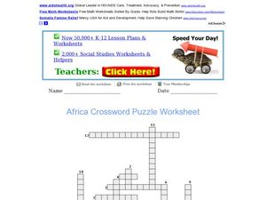 Africa Crossword Puzzle Worksheet Worksheet