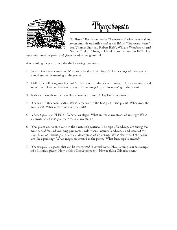 thanatopsis poem summary