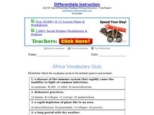 Africa Vocabulary Quiz Worksheet