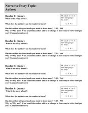 Narrative Essay Review Sheet Worksheet