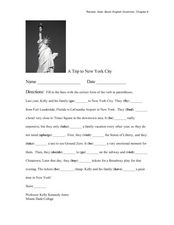 Verbs: A Trip to New York City Worksheet