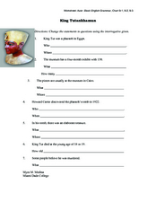 King Tutankhamen Worksheet
