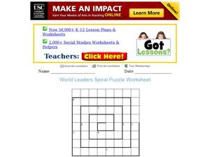 World Leaders Spiral Puzzle Worksheet Worksheet