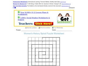 Women's History Spiral Puzzle Worksheet Worksheet