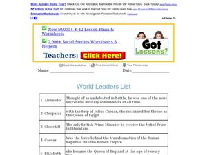 World Leaders List Worksheet