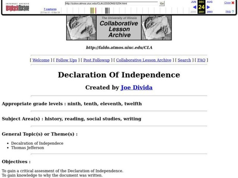 Declaration of Independence Lesson Plan