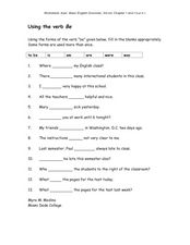 "Using the Verb ""Be"" Worksheet"
