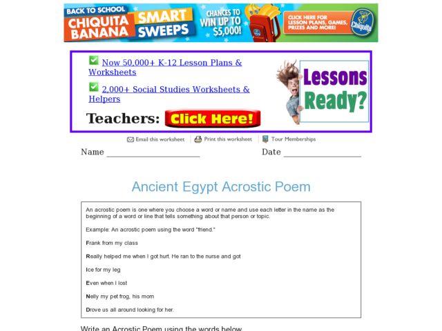Ancient Egypt Acrostic Poem 4th - 7th Grade Worksheet   Lesson Planet