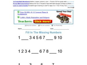 Fill In the Missing Numbers: 1-10 Worksheet