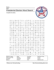 Presidential Election Word Search Worksheet