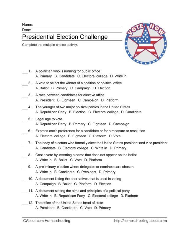 Printable Worksheets political party worksheets : Election Vocabulary Quiz Worksheet for 3rd - 4th Grade | Lesson Planet