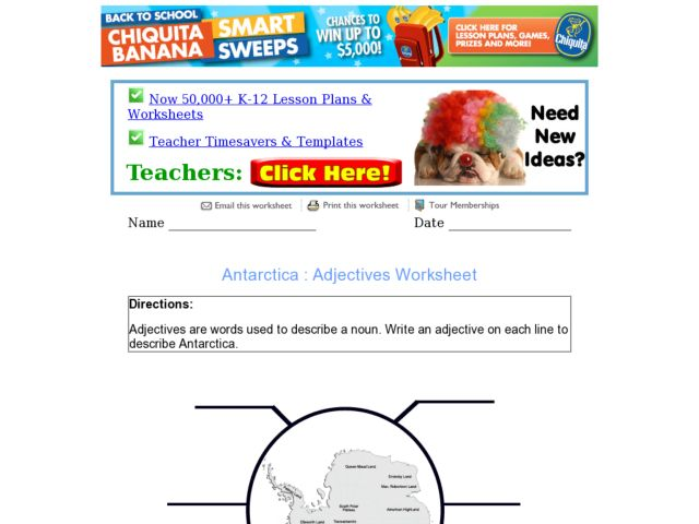 Adjectives: Describing Antarctica Worksheet