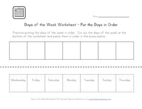 Days of the Week Worksheet- Put the Days in Order Worksheet