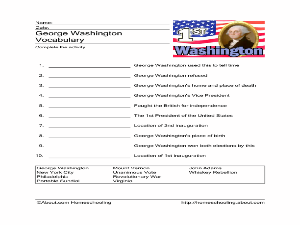 worksheet George Washington Worksheets george washington vocabulary 3rd 4th grade worksheet lesson planet