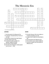 The Mesozoic Era Crossword Puzzle Lesson Plan