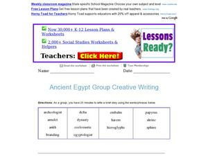 Ancient Egypt Group Creative Writing Worksheet