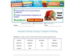 Ancient Rome Group Creative Writing Worksheet