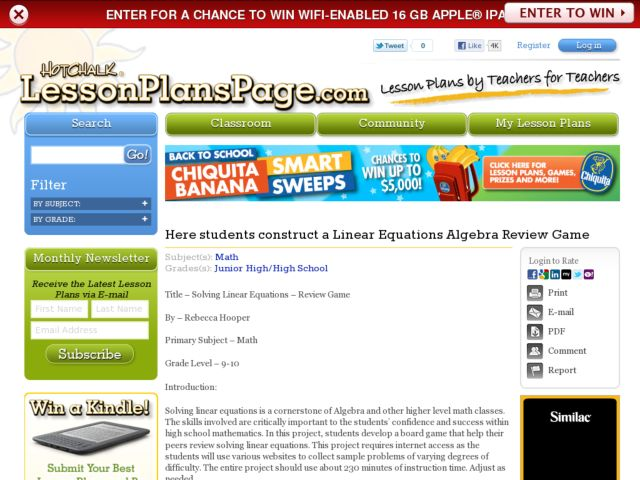 Solving Linear Equations - Review Game Lesson Plan