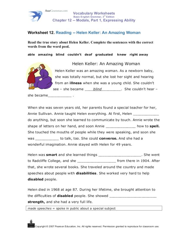 Helen Keller: An Amazing Woman Worksheet