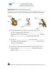 Worksheet 10: Parts of the Body (Animals) Worksheet