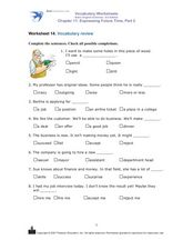 Choosing the Right Word for the Sentence Worksheet
