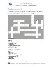 Crossword- Basic Vocabulary Review Worksheet
