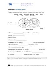 Worksheet 7: Vocabulary Review Worksheet