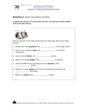 Verbs: Occupation Activities Worksheet