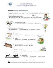 Verbs: Animal Activities Worksheet