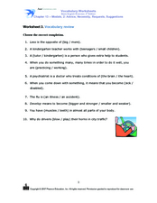 Vocabulary Review: Advice, Necessity, Requests, Suggestions Worksheet