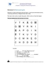 Using the Present Progressive: Word Search Game Worksheet