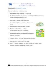 Worksheet 12: Vocabulary Review Worksheet