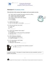 Vocabulary Review: Completing Conversations Worksheet