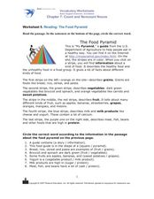 Reading: The Food Pyramid Worksheet