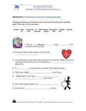 Vocabulary Preview for Reading Passages Worksheet