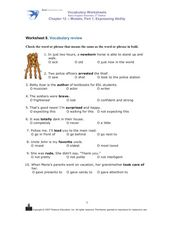 Vocabulary Review: Word Meanings Worksheet