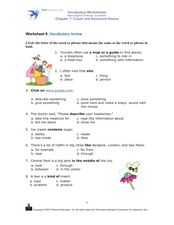 Worksheet 9: Vocabulary Review Worksheet